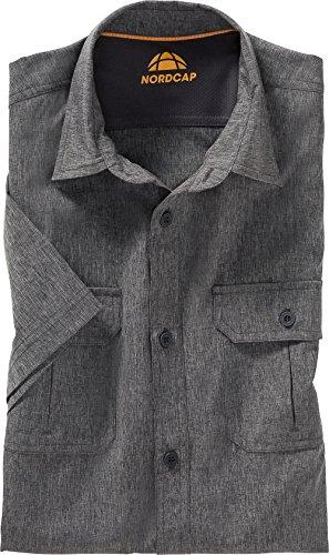 Nordcap Funktionshemd Kurzarm in Grau, meliertes Freizeithemd für Herren, atmungsaktives Kurzarm-Hemd, knitterresistent, Gr. 39 – 46, Menge: 1 Stück