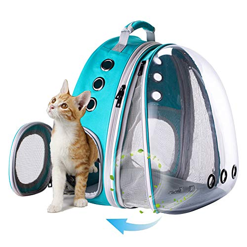 Front Expandable Large Cat Carrier Backpack, Space Capsule Pet Carrier Backpack for Fat Cats and Small Dog up to 20 lbs, Dog Carrier Backpack for Traveling and Hiking (Green)
