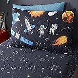 Happy Linen Company Fundas Infantiles Reversibles para Almohada - Viaje Espacial - Brilla en la Oscuridad - Azul Marino - Set de 2
