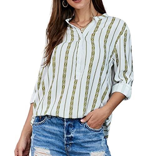 Segindy Camisa a Rayas con Cuello en V para Mujer Color a Juego Costura Personalidad Tendencia Suelta Cómoda Todo-fósforo Moda Pullover Top M