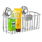 MaxHold No-Drilling/Suction Cup Deep Rectangular Storage Basket - Vaccum System - Stainless Steel Never Rust - for Bathroom & Kitchen
