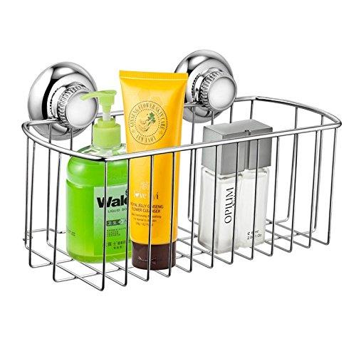 MaxHold Saugschraube Duschkorb tief rechteckig einstöckig, Befestigen ohne Bohren – Edelstahl rostfrei – Küchen & Badezimmer Aufbewahrung