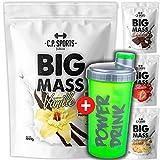 Big Mass – Bolsa de 1000 g Weightgainer (fórmula mejorada), 3 componentes de matriz de carbono (malodextrina, almidón de maíz, dextrose) (fresa)