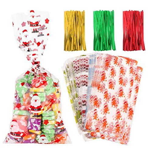 Toyvian 200 Stück Weihnachten Zellophan behandeln Taschen mit Twist Krawatten für Geschenk Taschen Weihnachten Süßigkeiten Taschen, Urlaub Goodie Bags, Weihnachts Partybevorzugungen