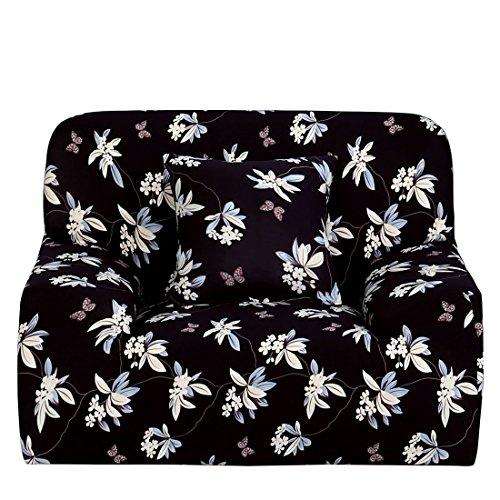YeVhear - Funda de sofá estampada para sofá con funda de almohada para silla, color negro
