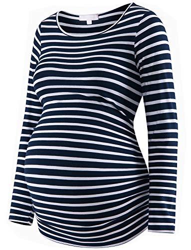Umstandsshirt Langarm Basic Top Rüschen Seiten Bodycon T-Shirt für Schwangere - Blau - X-Groß