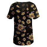 N\P Mujer -Camisa Verano Estampado Floral Manga Corta Cuello en V Pullover