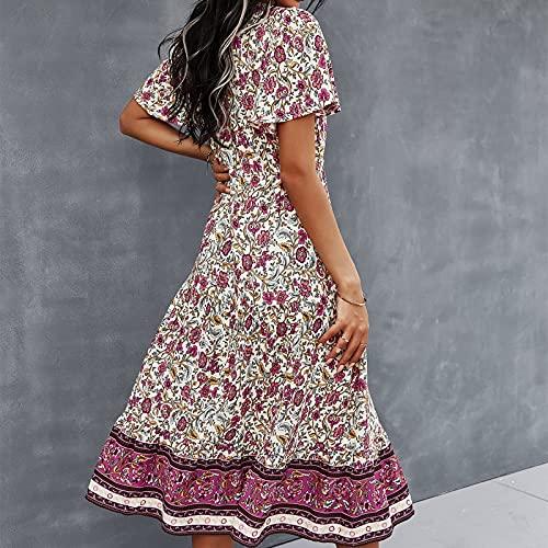 Rouped Vestido Boho Faldas largas,Vestidos Elegantes Mujer Verano Largo,Vestidos playeros Mujer,Ropa Mujer Verano,Moda Mujer 2021,RL506
