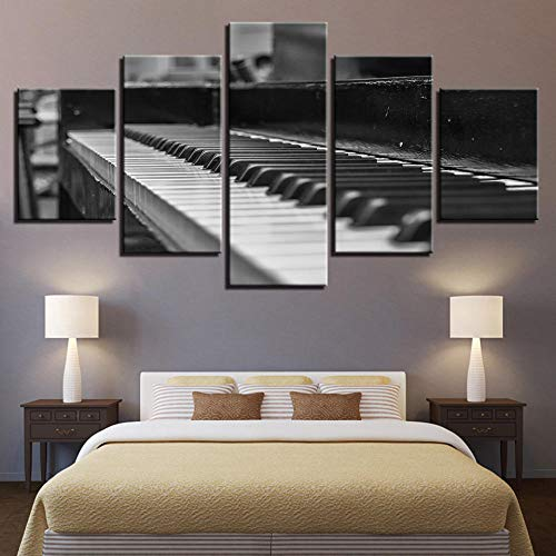 WZXYX Leinwandbild - 5 Stück Gemälde Auf Leinwand Wandkunst Vlies Leinwandbild 5 5 Zauber Hause Wandaufkleber Hängen Malerei Inkjet Klassisches Instrument Klavier Dekorative Malerei