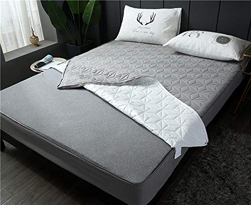 lhmlyl Mattress Protector Doublepadded Cotton Sanding Full Surrounded By Waterproof Bed Sheet Single Piece Solid Color Breathable Removable Zipper Thickening Urine Bed Sheet-Gray_180*200 High 15