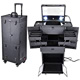 Byootique Black Rolling Makeup Case with Mirror Light Pro Large Cosmetic Artists...