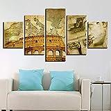 hllhpc (No Frame) Pintura de Lienzo Cartel Sala de Estar Arte de Pared Modular 5 Panel Smbolo El Imperio Romano Cuadros Impresos Decoracin Imgenes(40x60 40x80 40x100)