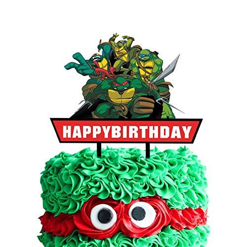Acrylic TMNT Happy Birthday Cake Topper, Ninja Turtles Smash Cake Topper, Turtles Birthday Party Decoration, Ninja Turtles Party Supplies-Red Sign