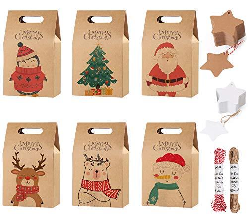 Hook 24 Weihnachtstüten, Geschenktüten Geschenkbox Weihnachten Klein, Weihnachten Geschenkverpackung Papiertüten Geschenktaschen mit Griff Kraftpapier für Kekse Gebäck Geschenke