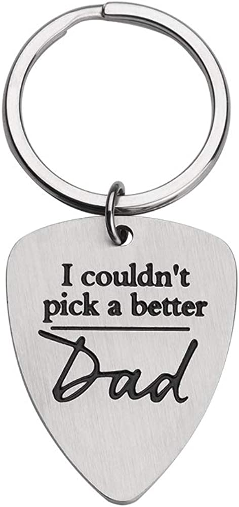 Guitar Pick Keychain Gifts for Dad Father Birthday Fathers Day from Daughter Son
