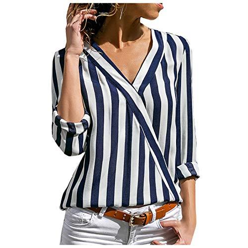 Damen Striped Chiffon Bluse Langarm Mode V-Ausschnitt Oberteil Asymmetrisch Streifen Kunstdesign Oberteil Frauen Sexy Trendy Casual T-Shirt Shirt Sommer Chiffon Elegant Hemd Lose Tunika Tops Tees