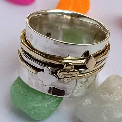 Silver Spinner Ring*Three Tone Ring*Meditation Ring*Anxiety Ring**Silver Jewlery*Thumb Ring*Handmade Ring*Clover Charm Ring Pre-engagement Ring