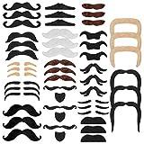 RYMALL 48 Pièces Fausse Moustache Adhesive, Moustaches Auto-adhésives Assorties...