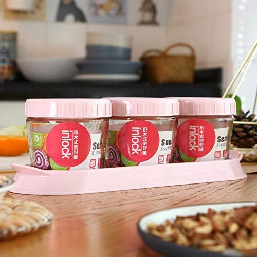 hsy Recipientes de Cereales para Almacenamiento,Recipiente de Almacenamiento hermético Tapas herméticas Bote de Almacenamiento de Alimentos a Granel para Servir té Co Tarro de Miel Cocina Sweet Jar