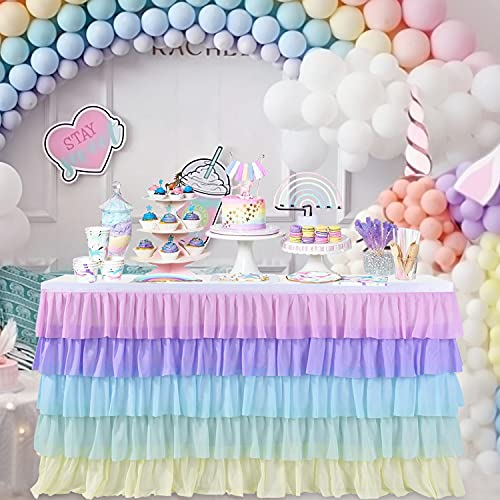 Unicorn Table Skirt Rainbow Tablecloth for Rectangle Tables 6ft Birthday Party Unicorn Party Supplies Baby Shower Cake Table Decorations