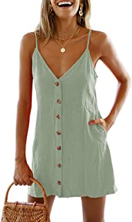 Womens Polka Dot V Neck Button Down Ruffles Casual Loose Swing Short Mini T-Shirt Dress