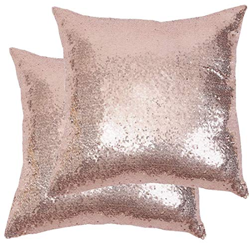 Poise3EHome 18x18inches Sequin Pillow Covers Rose Gold Decorative Pillowcases for Throw Pillows, Couch, Bed, Living Room, Christmas (Rose Gold, 2PCS)