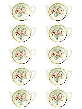Linlins White Porcelain Ceramic with Flower Trim Gold Rim Teapot-Shaped Tea Bag Holder Tea Bag Coasters Spoon Rests  Classic Tea Saucer Seasoning Dish Set