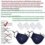 Schutzstufe, N95, FFP2, Outdoor Anti-Staub-Maske, wiederverwendbar, PM 2,5 Anti-Staub-Masken, waschbar, Anti-Haze Gesichtsmaske Schutzmaske Atemschutzmaske mit Filter-Baumwoll-Blatt (2, Blau)