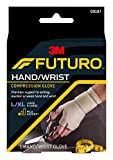 FUTURO Hand and Wrist Compression Glove, Provides Support and Compression to Arthritic and Painful Hand Joints, Large/XL, Beige