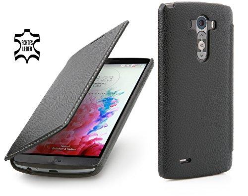 StilGut UltraSlim Hülle, Tasche in Book Type Stil aus Leder für LG G3, schwarz