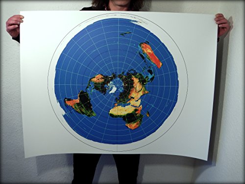 plate Terre Carte–Flat Earth Map: 40x 30