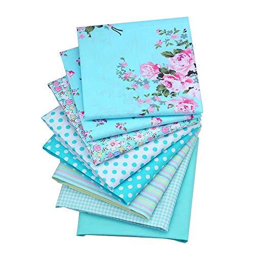 ShuanShuo Blue Series Cotton Fabric Quilting Patchwork Fabric Fat Quarter Bundles Fabric for Sewing DIY Crafts Handmade Bags 40X50cm 8pcs/lot