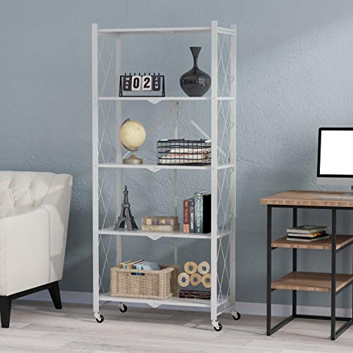"""FUFU&GAGA Foldable Storage Rack Shelves with Wheels Bakers Rack Black Metal Wire Heavy Duty Shelving Organizer for Warehouse Storage Room Kitchen Bathroom 283""""Wx146""""Dx604""""H White - 5 Tier"""