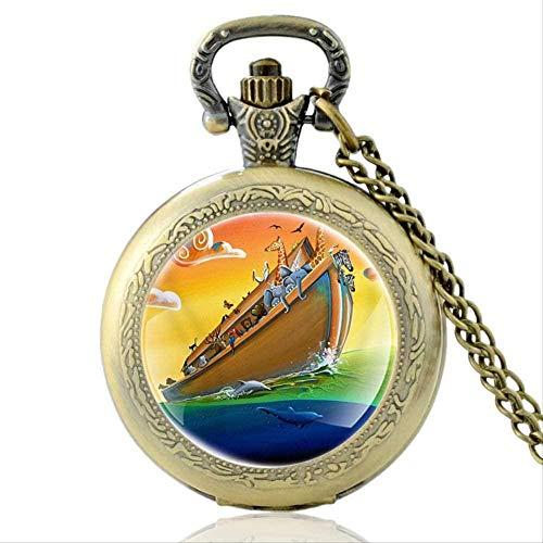 huangshuhua Reloj de Bolsillo de Cuarzo con cúpula de Cristal con diseño Vintage La fe no Hace Las Cosas fáciles, Collar con Colgante para Hombres y Mujeres, Reloj de Horas