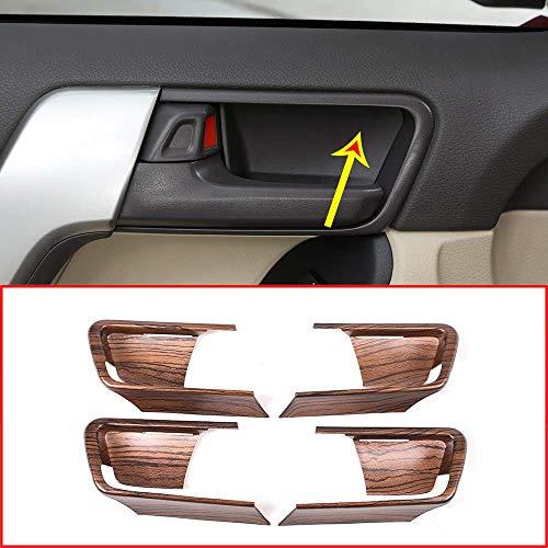 Topauto 4 Piezas de Grano de Madera de Pino para Toyota Land Cruiser Prado FJ150 150 2014 – 2018 año Coche ABS Interior Puerta tazón Cubierta Accesorios