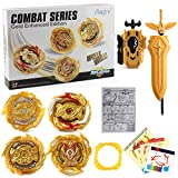 FiveToy Bey Burst Gyro Attack Blades Metal Fusion Evolution Combination with Starter Battle Arena, Launchers & Includes 4 Battling Metal Gyro Blades(4in1) (Gold, Large)