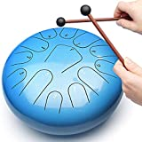 REGIS Steel Tongue Drum Tongue Drum 13 Notes12 Inches Chakra Tank Drum Steel Percussion Padded Travel Bag and Mallets blue (Light blue)