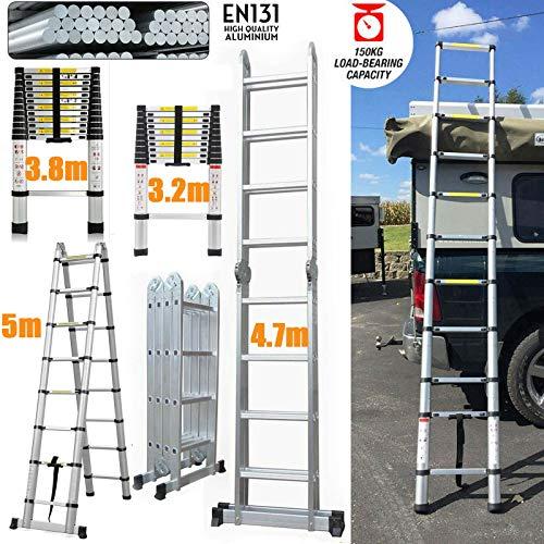 Escalera telescópica de aluminio, resistente, extensible, antideslizante, estable, multiusos, para techo de escalada, 150 kg de carga máxima