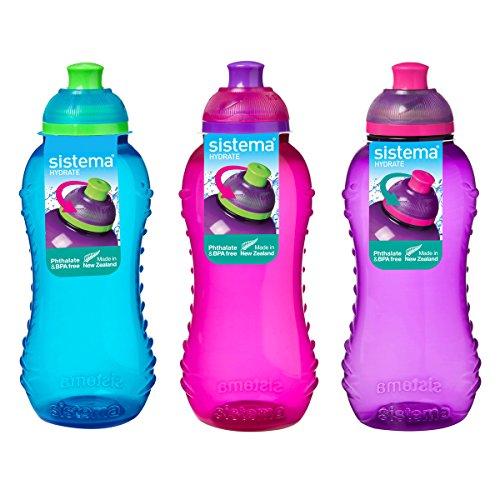 Sistema Trinkflasche, 330 ml, 3 Flaschen, Blau, Rosa, Lila