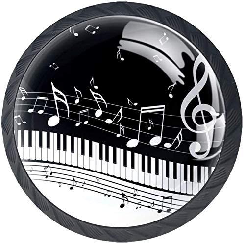A Piano Keys with Musical Notes 4 PCS Schubladenknopf,Moebelknauf, Schubladengriffe, Kommodenknöpfe Schubladenknöpfe Set, Möbelgriff, modern, Knauf für Schrank Schublade Küche