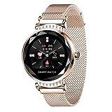 Relógio Lady Mulheres Smartwatch Inteligente de Luxo Pulseira de Fitness Rastreador a Prova D'Água (Ouro/Dourado)