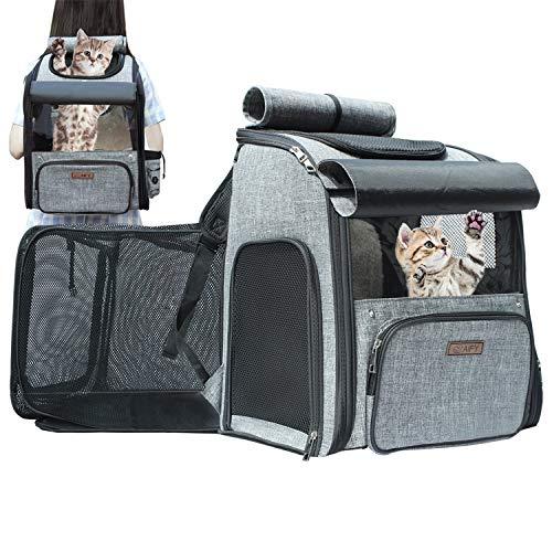AIFYペットキャリー ペットバッグ リュック2in1 持ち運べるペットの広々空間 猫・小型犬・中型犬用 ドライブ/キャンピング/旅行/通院/災害避難用 45×38×66 cm(拡張サイズ)8kg耐荷