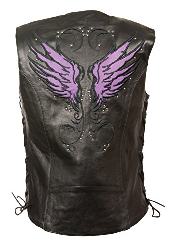 Milwaukee WOMEN'S MOTORCYCLE RIDING LEATHER VEST W/PURPLE WINGS DETAILING SIDE LACE BLACK (2XL