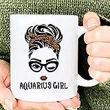 N\A Aquarius Girl Wink Eye Woman Face nació en Acuario Celebración de cumpleaños Taza de cerámica Personalizada Tazas de café gráficas Tazas Negras Tapas de té Novedad Personalizada 11 oz