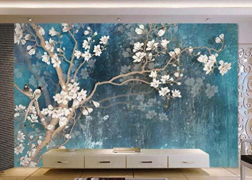 Carta Da Parati 3D Murali Pittura A Olio Di Fiori E Uccelli Blu Magnolia Vintage Fotomurali 3D Murales Da Parete Decorazione Muro Fotomurale