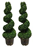 AMERIQUE AM51130FT4PK2 Pack of Two (2) 4 Feet Wide and Dense Boxwood Spiral Topiary Artificial Trees, Emerald Green