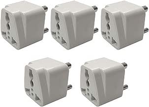 Hi-PLASST 3 Pin Traveller Conversion Plug, Convert EU US UK AU to India Power Adaptor,White(Pack of 5)
