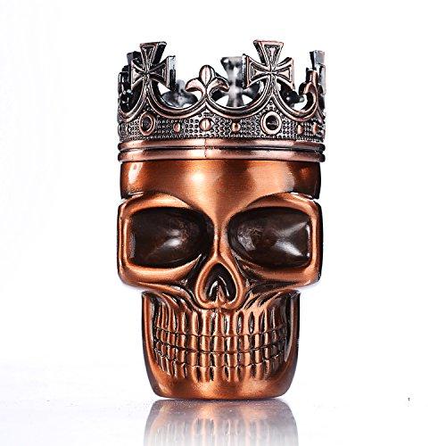Imagen del producto LIHAO Grinder Metálico Cráneo con Corona para Hierbas y Especias (Bronce Rojo, 45mm)