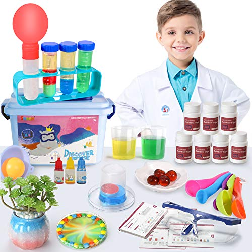 SNAEN Science Kit for Kids - 30 Cool Experiments and Lab Coat Scientist Costume,DIY STEM Educational Toys,Role Pretend Play in Christmas Birthday Party (67Pieces)