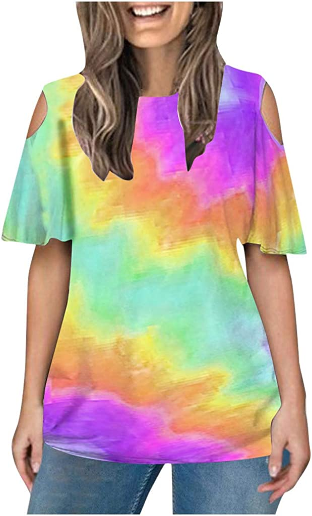 wholesale Womens Round Neck Off Shoulder Daily bargain sale T Sleeve Shirts Casu Summer Short